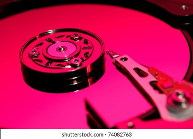Closeup image of hdd drive. Focused on head