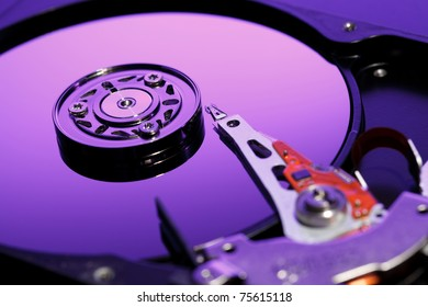 Closeup image of hdd drive. Focused on reading head.