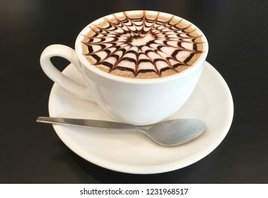 closeup image of hot coffee on black background