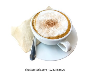 closeup image of hot coffee on white background