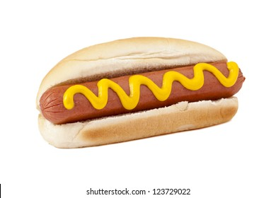 Close-up image of a hotdog sandwich with yellow mustard sauce on a white background