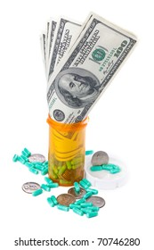 A close-up image of hundred dollar bills growing out of a prescription bottle, as well as a scatter of quarters and capsules around the base of the bottle. / PROFITABLE PHARMACEUTICALS
