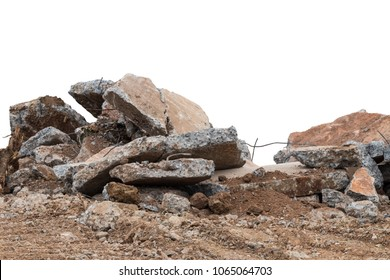 Close-up image of an isolate of concrete debris on the ground, which was demolished to destroy the road for rebuilding.