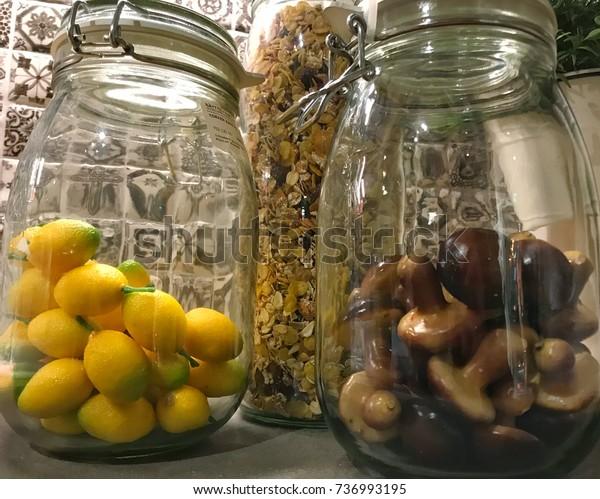 Closeup Image Kitchen Decoration Yellow Lemons Stock Photo Edit
