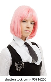 closeup image of lovely schoolgirl with pink hair