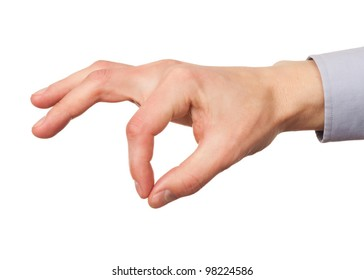Closeup image of male hand with forefinger and thumb put together. Isolated on white background