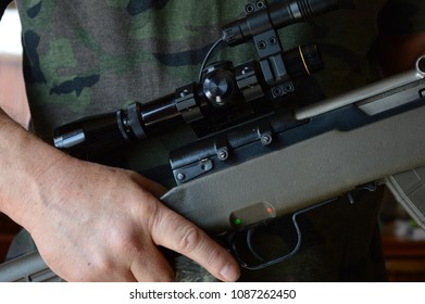 Closeup image of a military man ready for combat.