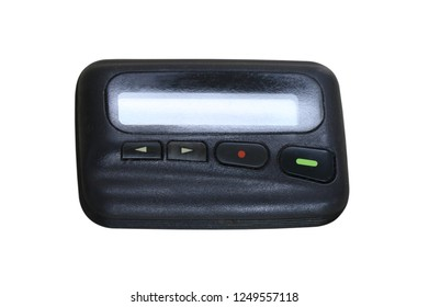 closeup image of old black pager on white background