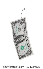 Close-up image of one dollar hanging on the fish hook over the white background