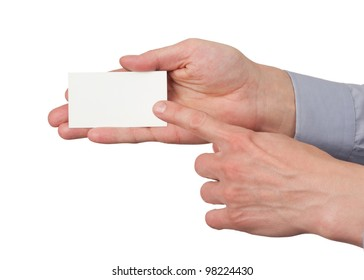 Closeup image of paper business card in male hand, isolated on white background