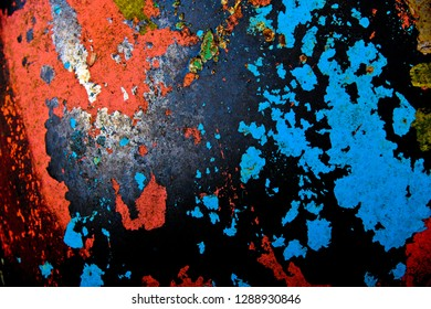 Close-up Image of Peeling Paint and Rust on the Fender of an Old Junk Car
