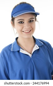 Close-up image of a pretty young fast-food employee smiling at the viewer.  On a white background.
