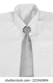 Closeup image of shirt and necktie on white background