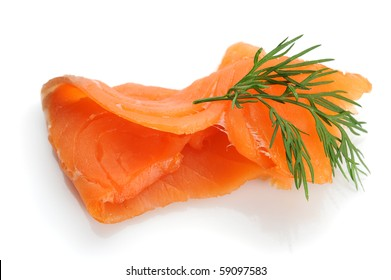 Close-up image of smoked salmon, studio isolated on white background