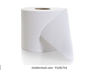 Close-up image of toilet paper studio isolated on white background