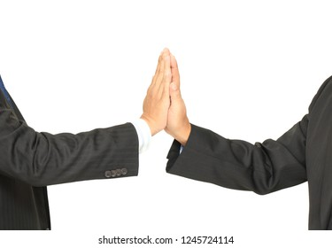 closeup image of two businessman agree their work