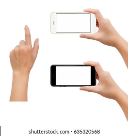 Close-up image of two human hand holding black and white blank screen smartphone with hand in touching gesture isolate on white background with clipping path