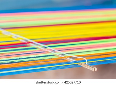 closeup image of weaving Loom, details,background.