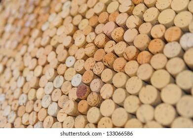 Close-up image of wine bottle old corks