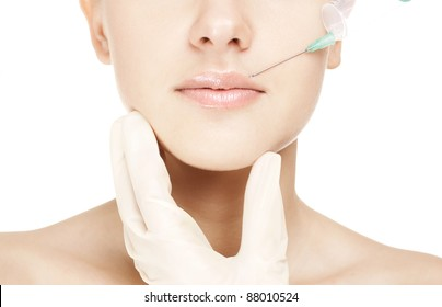 closeup image of a woman. injection in lips