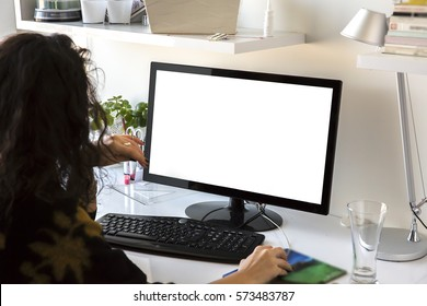 Closeup image of woman's hands keyboarding blank copy space screen for your text message or advertising content, young female writing letter or e-mail on desktop computer to her friend