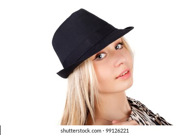closeup image of the young beautiful blond girl in the hat