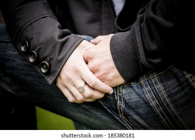 Close-up Image of a Young Couple Holding Hands, Engagement Session Ideas