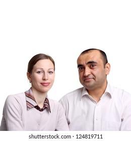 closeup image of a young interracial couple