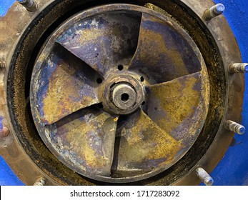 Close-up impeller corrosion of centrifugal pump in petrochemical or refinery industrial
