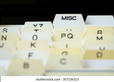 Closeup of index cards for business school or home organization, Selective focus on text MISC