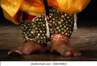 Closeup of Indian Kathak style male dancer with costume and bells tied to legs,a tradition
