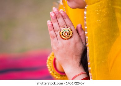 Closeup of Indian woman hands wearing golden ring praying and celebrating doing namaste, Girl prayer hands folded, - Image