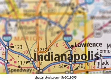 Closeup of Indianapolis, Indiana on a road map of the United States.