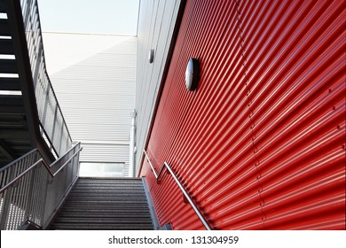 Closeup of industrial hall with stairs.