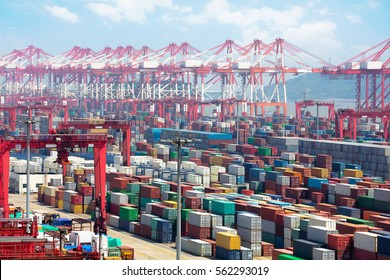 Closeup Industrial port with containers, Shanghai Yangshan deepwater port is a deep water port for container ships in Hangzhou Bay south of Shanghai, China