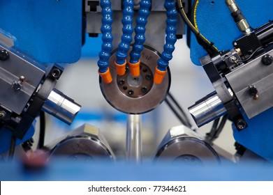 Closeup of innards of machine shop lathe