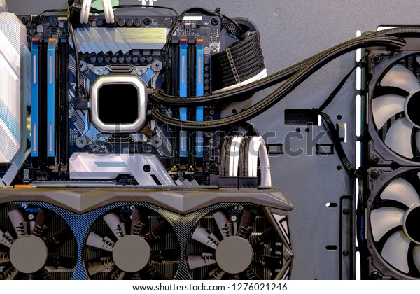 Close-up and inside Desktop PC Gaming and Water Cooling CPU, interior on Computer PC case and technology, isolated on white background