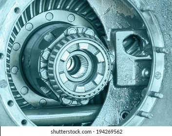 Close-up Inside of gearbox with ball bearings