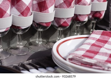 Closeup of inside picnic basket with red and white gingham