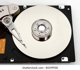Close-up inside view of hard drive