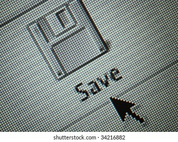 Close-up of a interface computersave button and an arrow mouse cursor
