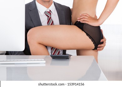 Close-up of a intimate couple in office