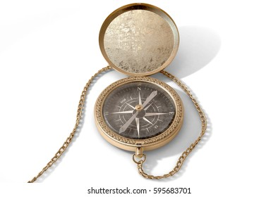 A closeup of an intricate vintage pocket compass with an open lid and a chain attached - 3D render