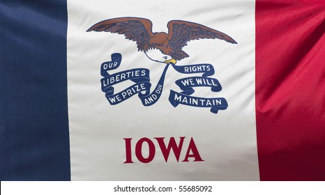 A close-up of the Iowa State Flag waving in the wind.
