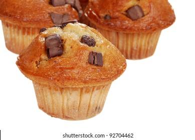 closeup isolated banana chocolate muffins