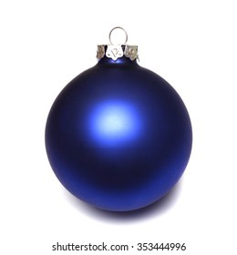 Close-up of an isolated blue christmas ball