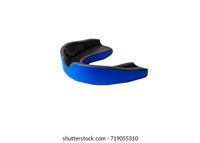 Close-up isolated blue gum-shield for protection athlete's teeth.