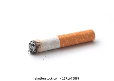 closeup of isolated cigarette butt on white background