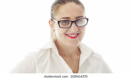 Closeup isolated portrait of happy smiling woman with red listick
