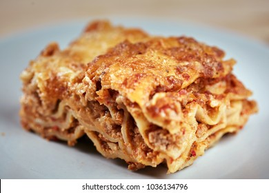 Closeup of Italian lasagna with cheese crust, homemade